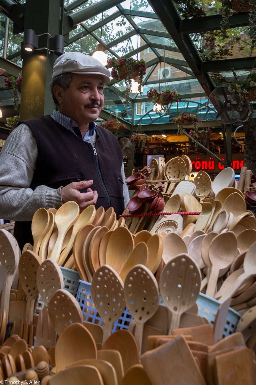 Handmade Wooden Kitchen Utensils Peddler - Bazaar, Izmir, Turkey, December 11, 2015