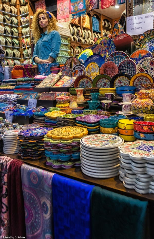 Ceramic Sales, Spice Bazaar Istanbul, Turkey November 23,2015
