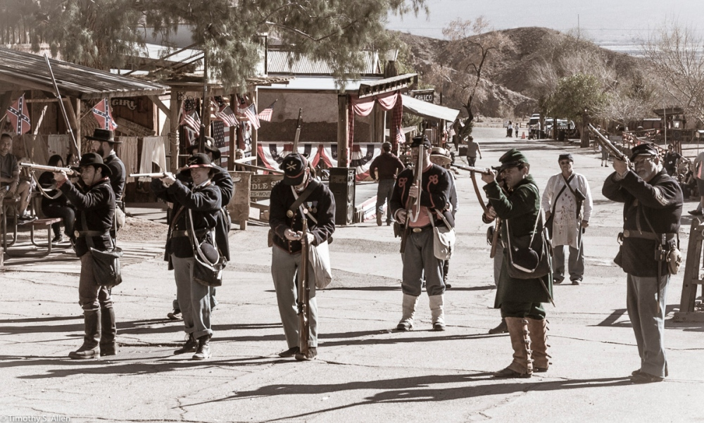 Aim - Reenactment - Union Soldiers Prepare to Fire at Advancing Rebel Troops Calico Ghost Town, California February 15, 2016