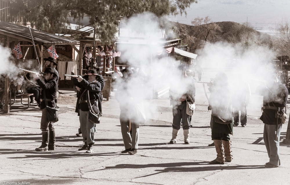 Fire - Reenactment - Union Soldiers Prepare to Fire at Advancing Rebel Troops Calico Ghost Town, California February 15, 2016