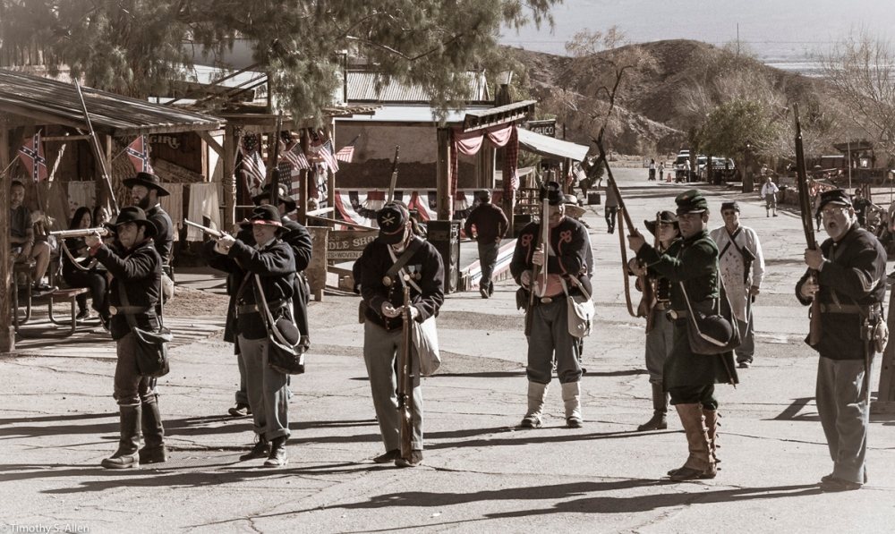 Ready - Reenactment - Union Soldiers Prepare to Fire at Advancing Rebel Troops Calico Ghost Town, California February 15, 2016