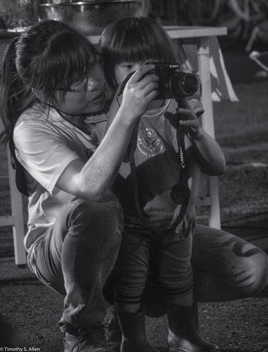Shu and Her Young Friend at the Cheng-long Village Welcome Party. Cheng-Long Wetlands International Environmental Art Project - https://artproject4wetland.wordpress.com - Cheng Long, Yunlin County - April 9, 2016