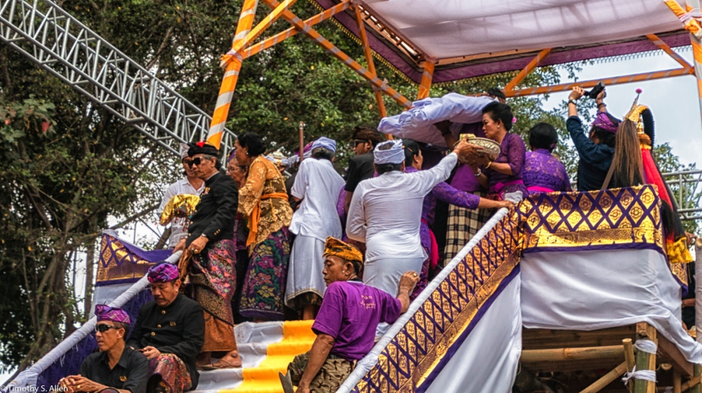 Cremation of the Ubud Bali Royal Family Member Cokorda Putra Widura. Moving the shrouded body into the sarcophagus bull. Ubud, Bali - May 7, 2016