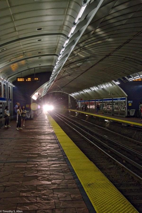 Inbound MBTA Blue Line Train at Boston's Aquarium T Station, HDR - Boston, MA, U.S.A. - August 11, 2016