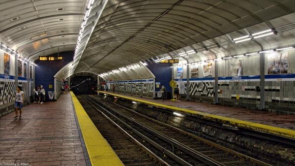 Waiting for the MBTA Blue Line Train at Boston's Aquarium T Station, HDR - Boston, MA, U.S.A. - August 11, 2016
