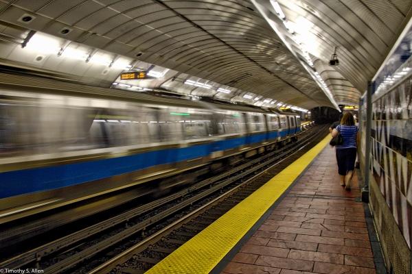 Outbound MBTA Blue Line Train at Boston's Aquarium T Station, HDR - Boston, MA, U.S.A. - August 11, 2016