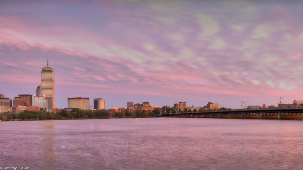 A Sunset View of Boston from Cambridge Boston, MA, U.S.A. September 3, 2016