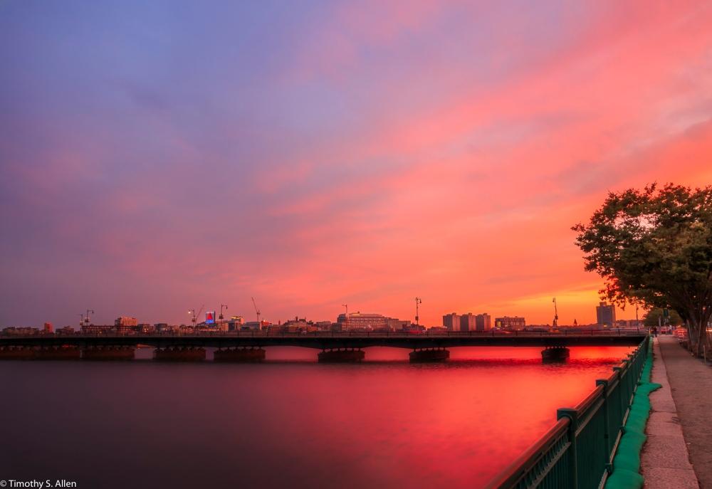 Cambridge Side Looking at the Mass Ave Bridge Boston, MA, U.S.A. September 3, 2016