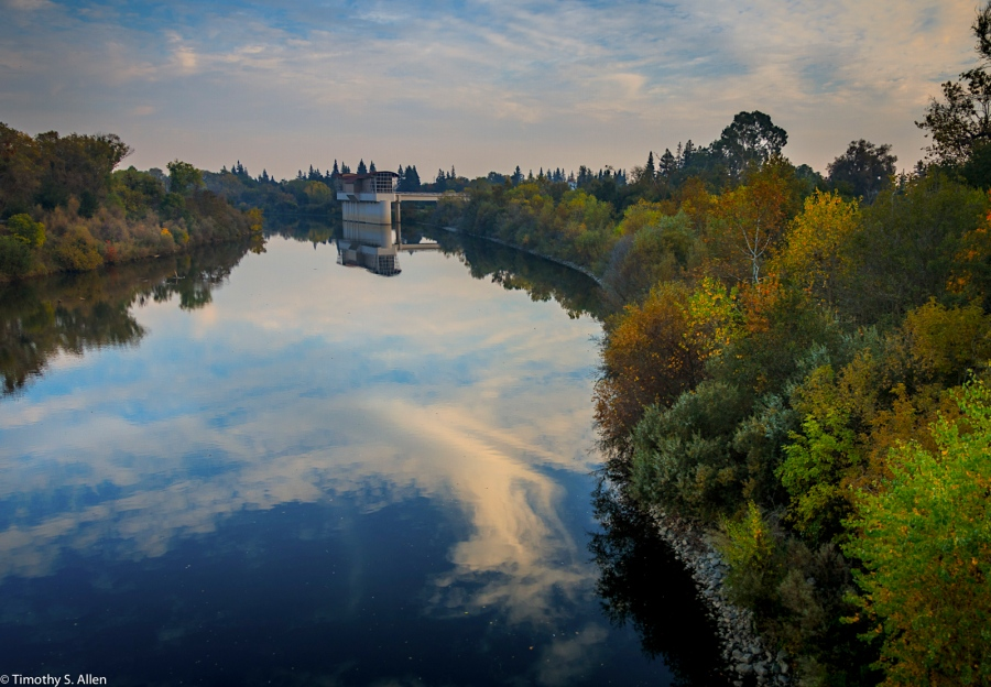 American River Near Water Control Tower Sacramento, CA, U.S.A. November 11, 2016