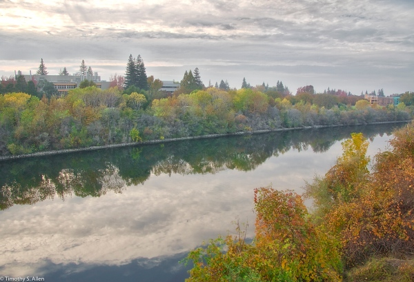 American River Taken from the Golden Gate Walking Bridge Sacramento, CA, U.S.A. November 11, 2016