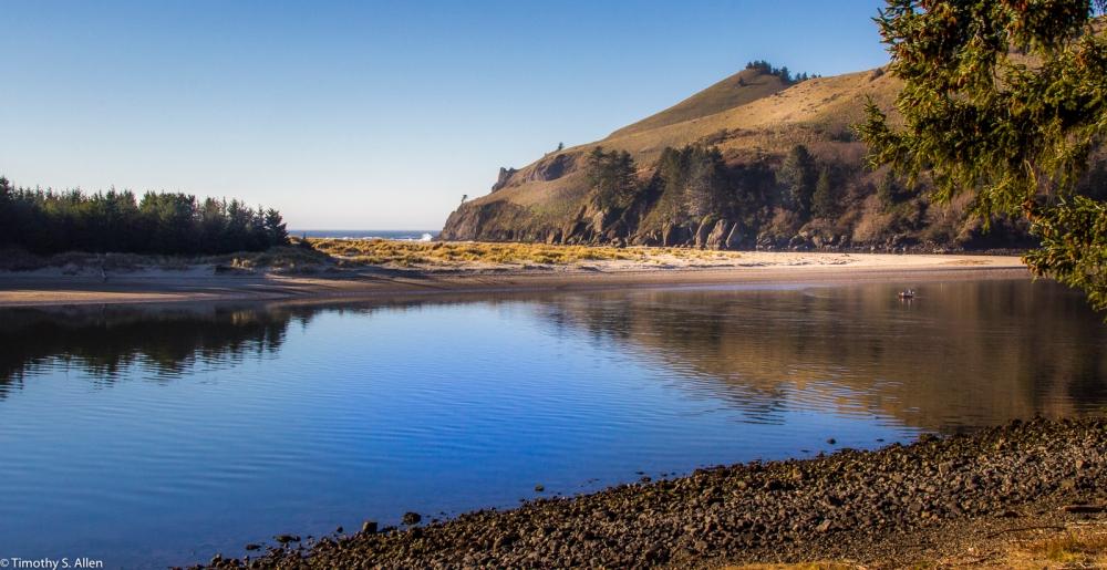Salmon River as It Enters the Pacific Ocean Near Lincoln City, Oregon, U.S.A. November 28, 2013