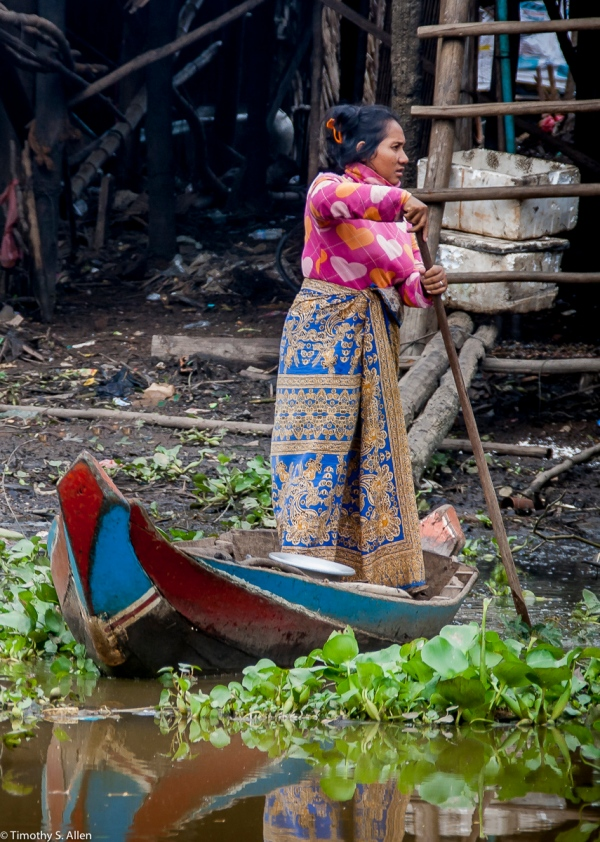 Woman in a Beautiful Skirt from Cambodia's Tonli Sap Lake Floating Village January 19, 2012