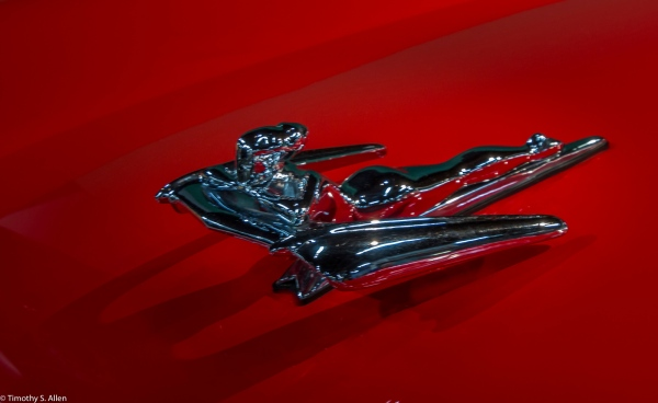 Several 1950s Nash Models Featured Optional Hood Ornaments called the Flying Goddess. Designed by pop artist George Petty. He Often Used His Daughter as His Model. This Ornament Was an Optional Accessory on Series 3 and 4 Metropolitans. California Automobile Museum, Sacramento, CA, U.S.A. January 21, 2017