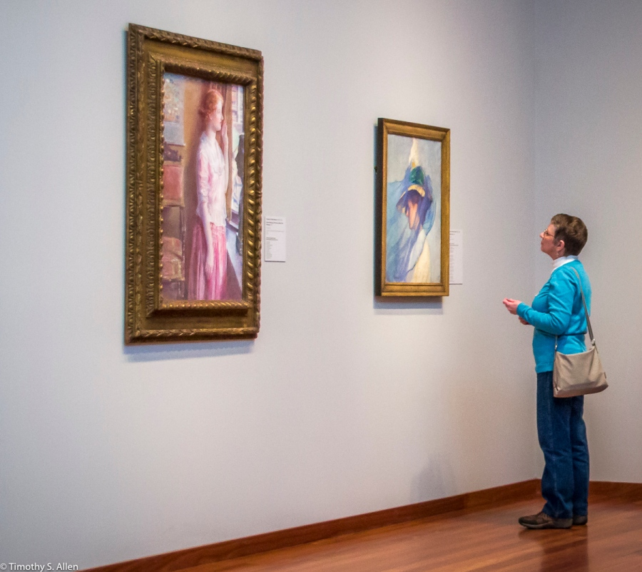 Left to Right Childe Hassam - Easter Morning (Portrait at a New York Window) and Edmund Charles Tarbell - The Blue Veil - Fine Arts Museum of San Francisco - De Young - California, U.S.A. February 18, 2015