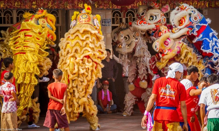 Preparing to Do a Dragon Dance Sharnoukville, Cambodia January 12, 2012