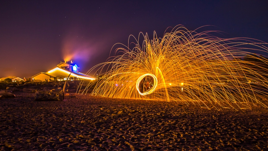 Ignited Steel Wool Spun at the End of a Tether - Lincoln Beach, OR, U.S.A. July 15, 2015