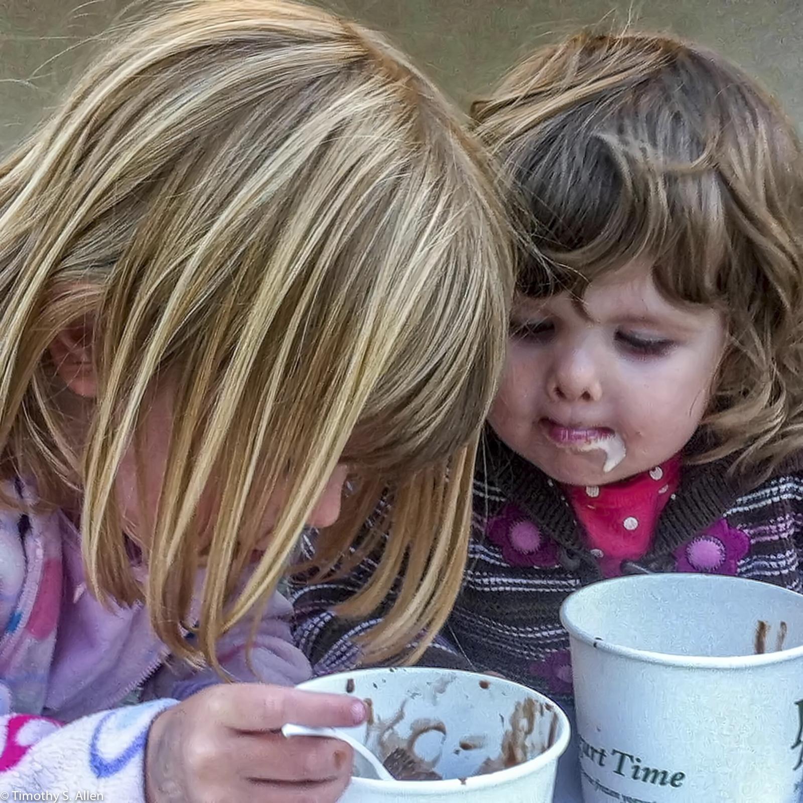 My Two Granddaughters Eating Yogurt at Yogurt Time in Santa Rosa, CA, U.S.A. August 11, 2011