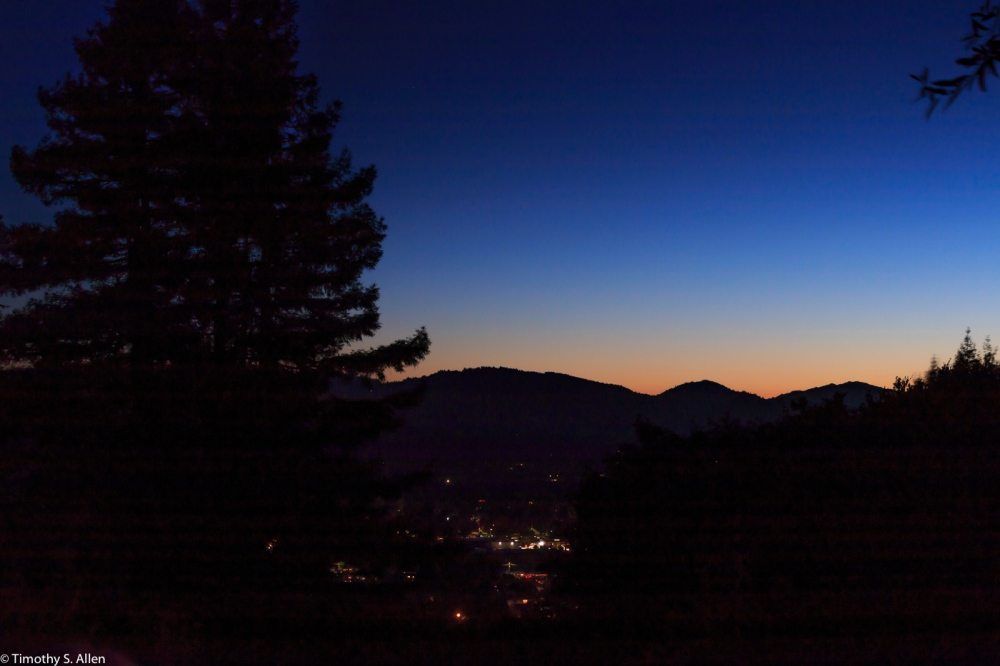 Overlooking Healdsburg Prior to the Fireworks Healdsburg, CA, U.S.A. July 4, 2017