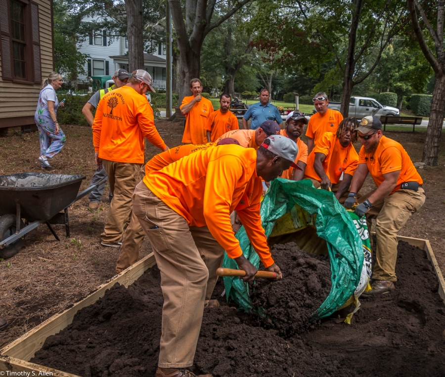 City of Newnan Crew Dump Dirt on the Site of Jane Ingram Allen's Newnan Art Rez Eco Art Quilt. It Is Located at Veterans Park Outside of the Men's Academy School Newnan, GA, U.S.A. August 25, 2017