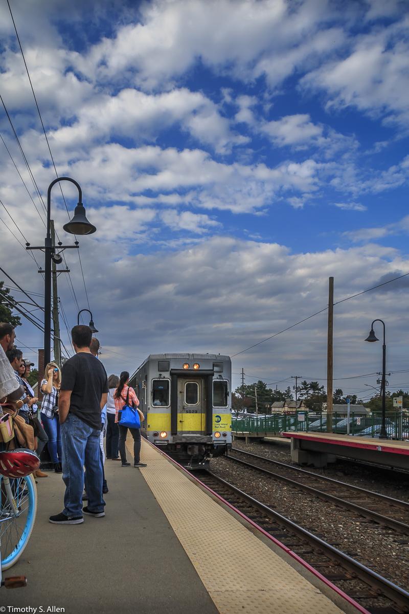 Long Island Railroad-MTA Arriving Glen Head, NY, U.S.A. September 13, 2017