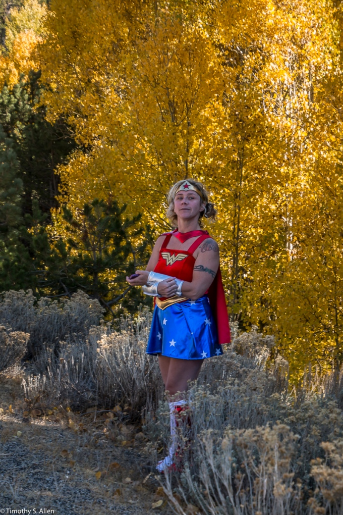 Wonder Women Enjoying the Aspen in Full Fall Colors US Hwys 88 and 89 California, U.S.A. October 12, 2017