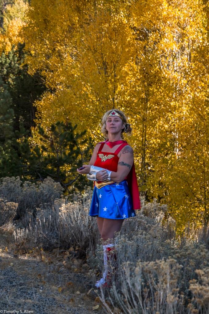 Wonder Women Enjoying the Aspen in Full Fall Colors US Hwys 88 and 89 California, U.S.A. October 12, 2017