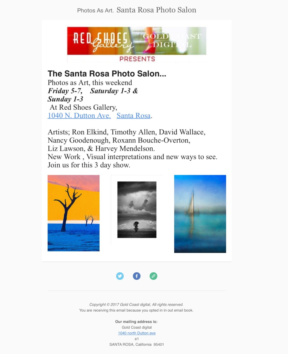 I'm in this group exhibition that opens Friday December 1 from 5-7 pm at the Red Shoes Gallery in Santa Rosa, CA. You can also see the exhibition on Saturday and Sunday from 1 - 3 pm. I have 6 photographs from my Eastern Sierras series with an emphasis on fall colors. They are all on metal and under $99 dollars each. I hope to see you there.