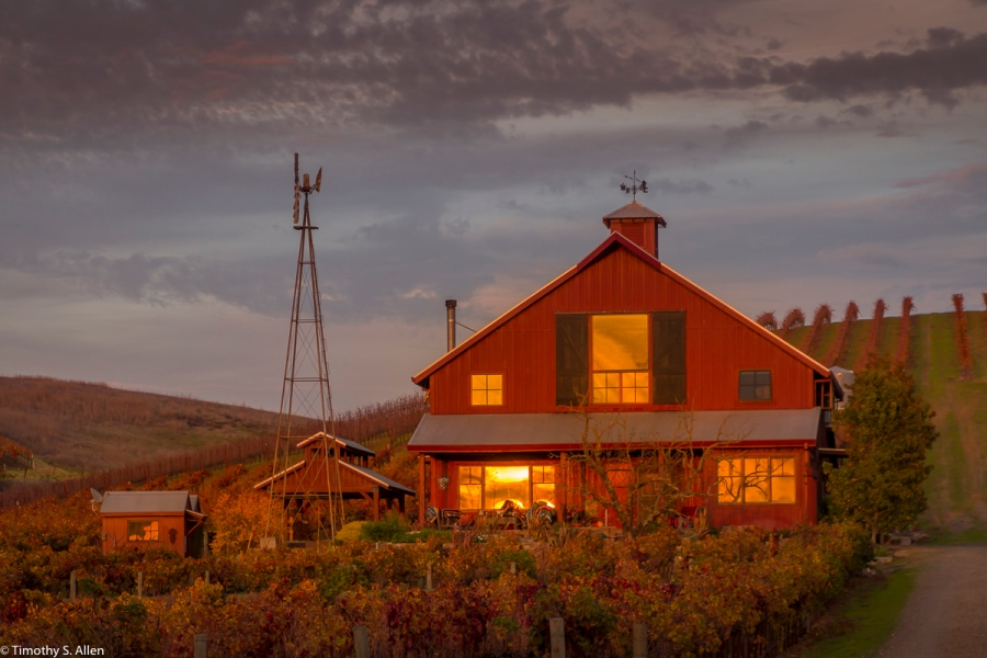 Small Winery at Sunset Dealy Lane, Napa County, CA, U.S.A.