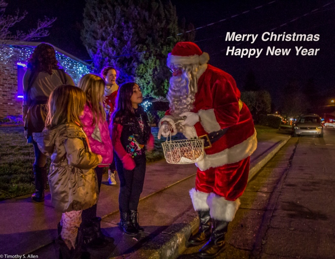 Neighborhood Santa Santa Rosa, CA. U.S.A. December 19, 2015