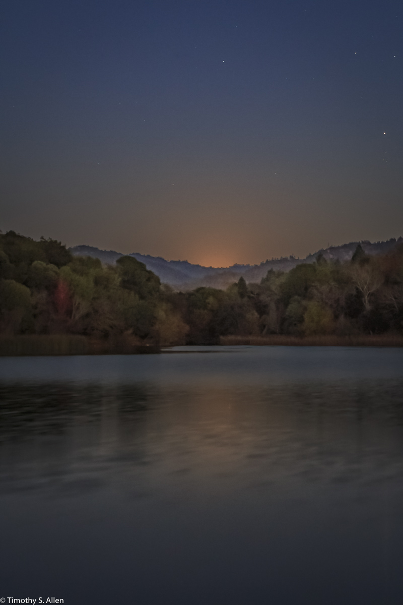 Super Moon Rising Over Spring Lake Howarth Park, Santa Rosa, CA, U.S.A. December 3, 2017