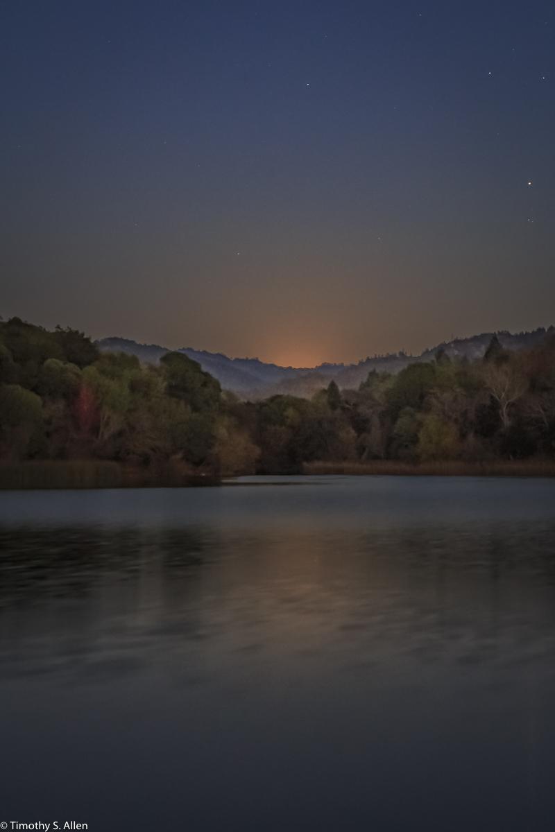 Super Moon Rising Over Spring Lake Howarth Park, Santa Rosa, CA, U.S.A. December 3, 2017