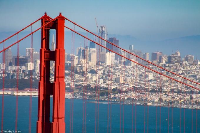 Sighting Through the Golden Gate Bridge from the Golden Gate National Recreation Area, Marin Headlands, California, U.S.A. June 3, 2017