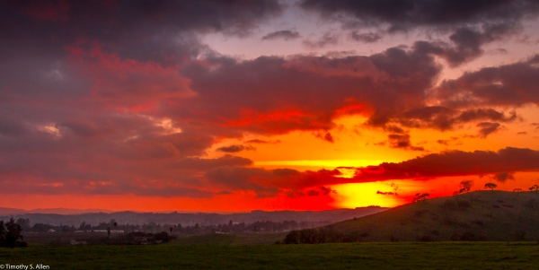 The sun is setting after a day of stormy weather. Sonoma County, CA, U.S.A. January 22, 2018