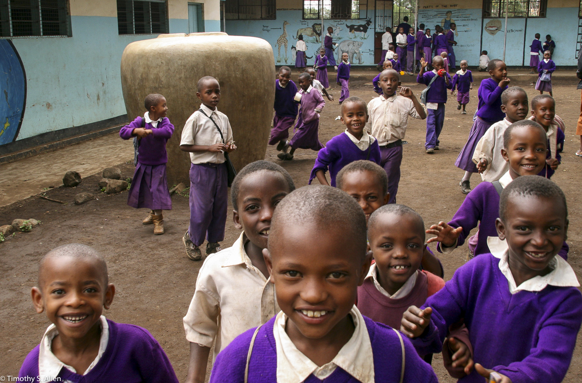 Students from the Coffee Plantation Greet Me Near Arusha, Tanzania February 8, 2008