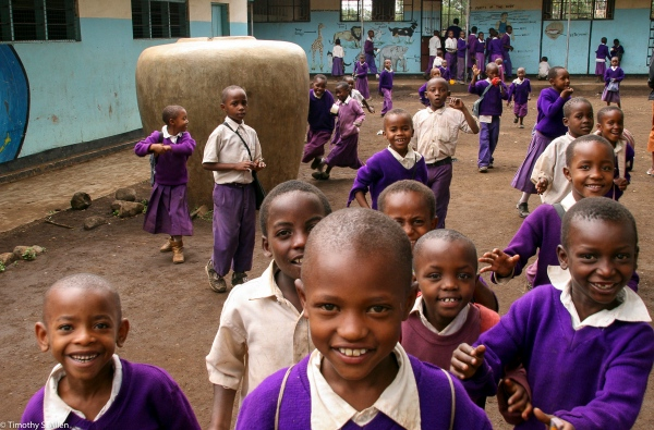 Students from the Coffee Plantation Greet Me Near Arusha, Tanzania February 8, 2008
