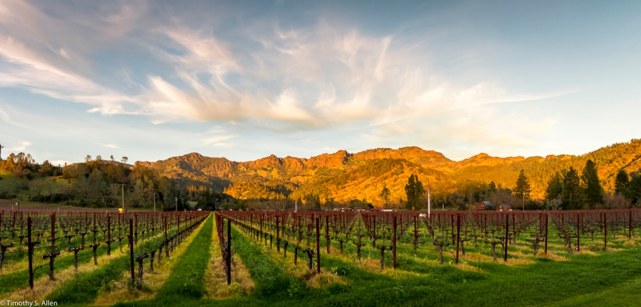 Mountains in the Eastern Napa County Are Lit By the Setting Sun - Nape County, CA, U.S.A. February 4, 2018