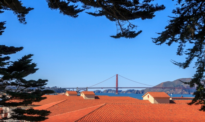 An Afternoon View of the the Golden Gate Bridge from a Path Overlooking Fort Mason, Golden Gate National Recreation Area, San Francisco, California, U.S.A. February 22, 2018