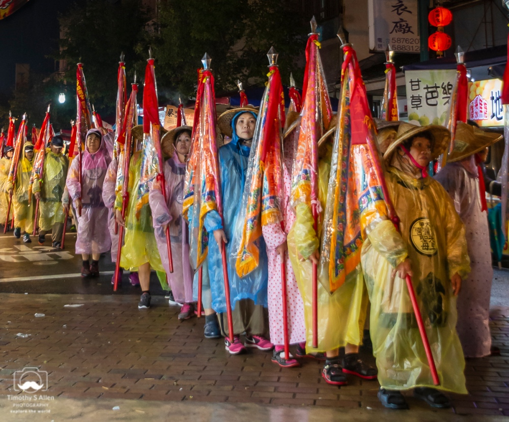 Women's group marching in the Mazu parade. Silou, Taiwan April 15, 2018