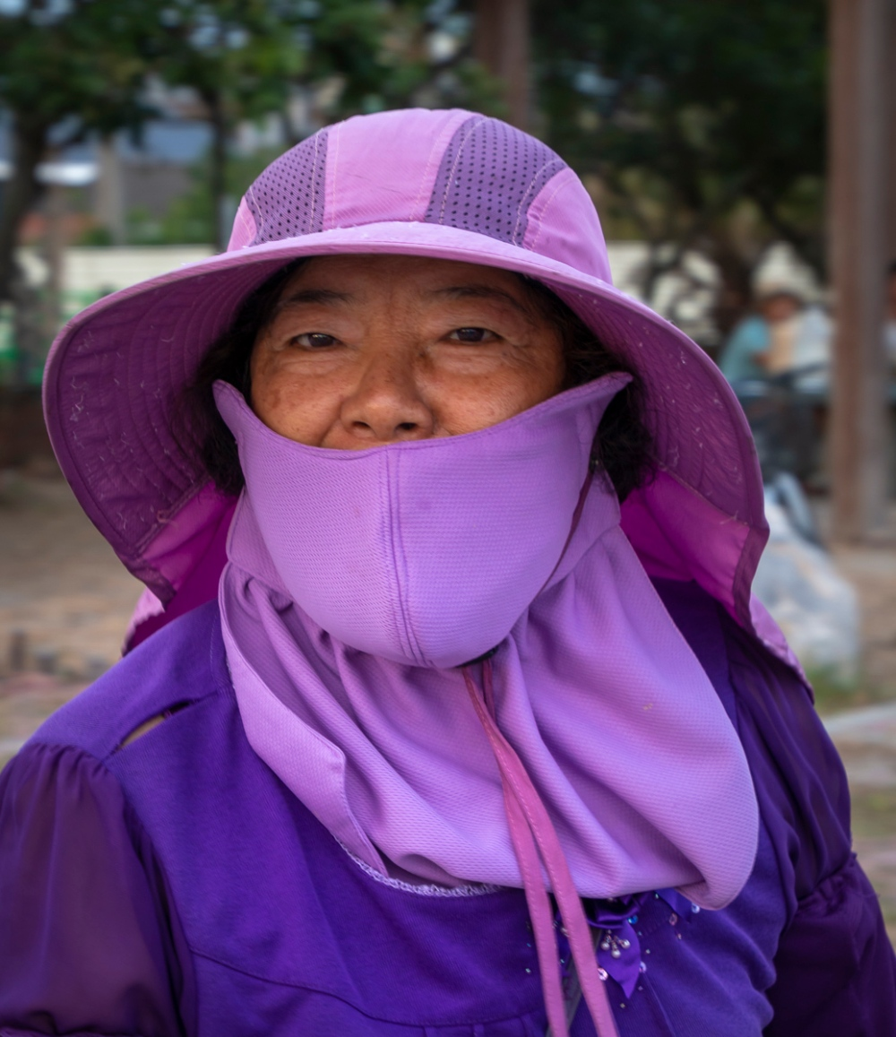 This Cheng long Village woman is dressed in traditional clothing. Cheng long Village, Kohou Township, Yunlin County, Taiwan May 05, 2018