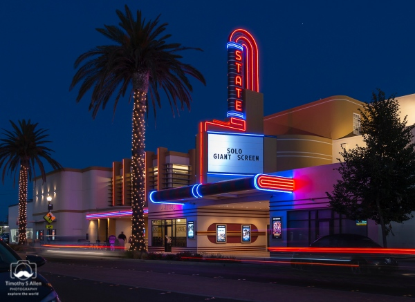 The 999-seat State Theater was built in 1936 by Redwood Theatres and Fox West Coast Theatres, to replace a theatre that was destroyed by fire. In 1977, two additional screens were built adjacent to the original theater. Seating in the main original auditorium is on a stadium plan, with a raised section at the rear (no overhanging balcony). The State Theater was closed on September 6, 2010. After a remodel by new operators Cinema West, it was reopened as a 10-screen theatre on June 28, 2017. Woodland, CA. June 1, 2018