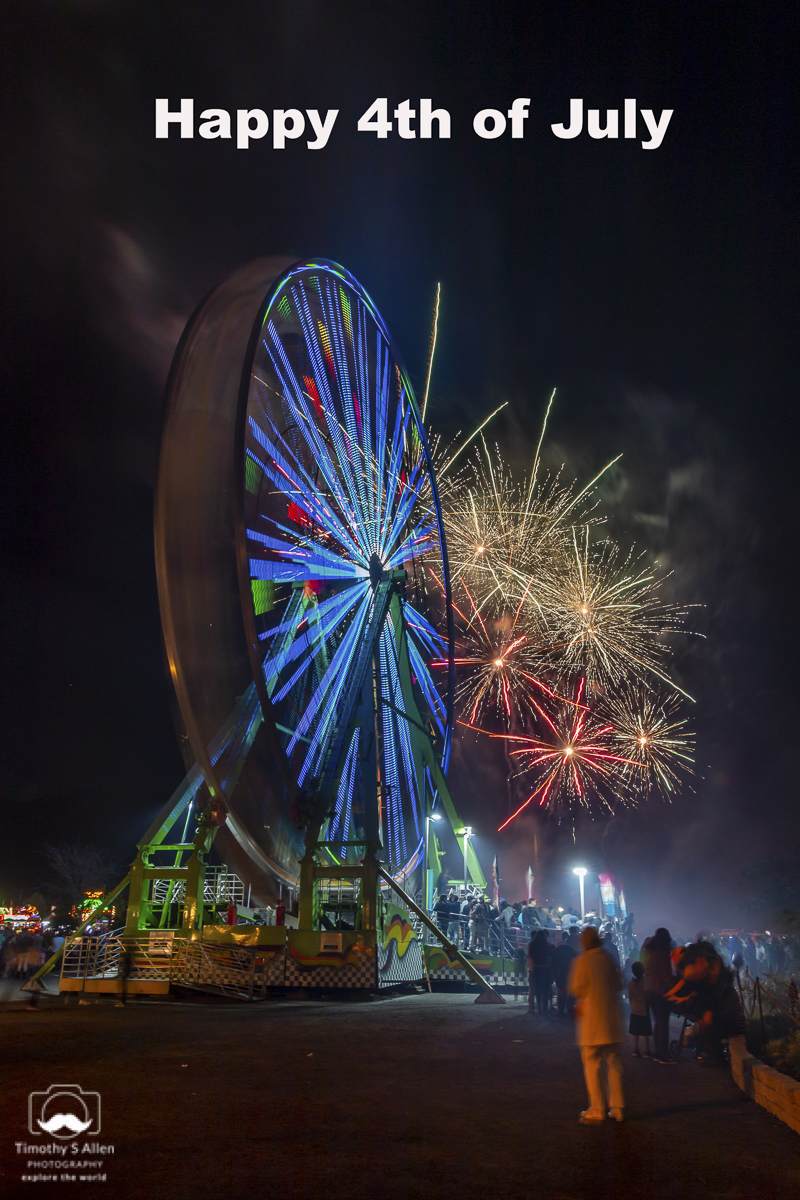 Nightly Fireworks at the Marin County Fair. The Ferris Wheel is part of the Butler Amusements midway rides. San Rafael, CA, U.S.A. July 2, 2018