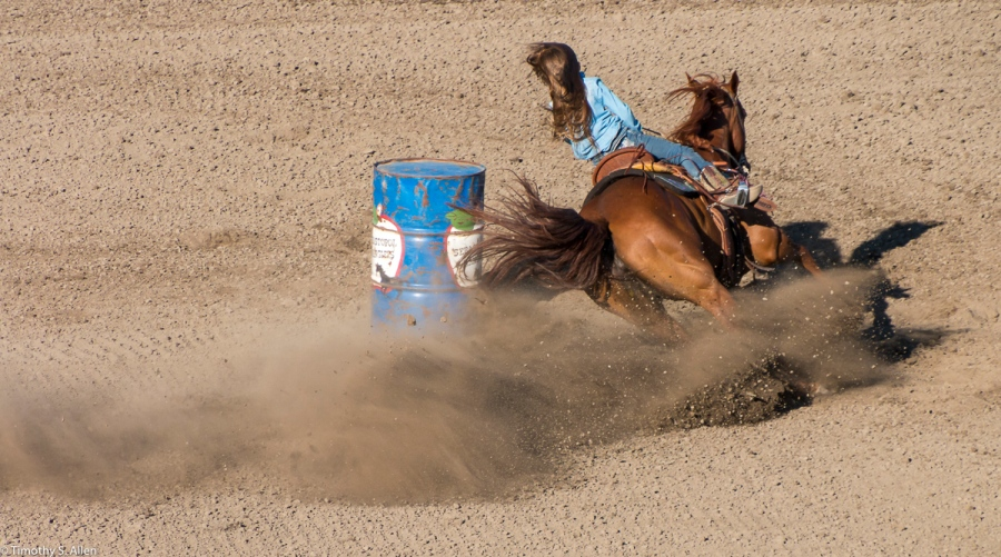 A young cowgirl rides her horse around the last barrel in a barrel race at the Sonoma County Fair. Santa Rosa, CA, U.S.A. August 3, 2018