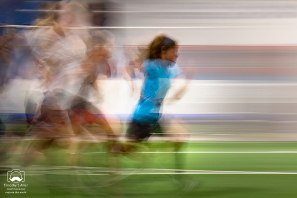 Girls racing in an indoor gym Santa Rosa, CA August 25, 2018