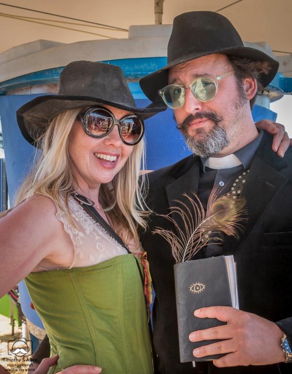 Karen Hess and Daedalus Howell at Petaluma Rivertown Revival. The two run Culture Dept. creates one-of-a-kind experiential and narrative art encounters in Petaluma, CA. https://culturedept.com Petaluma, CA, U.S.A. July 14, 2018