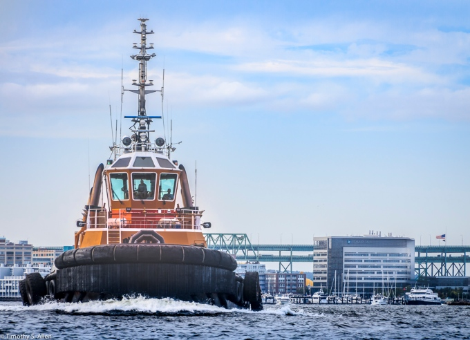 Ocean going tug boat, Boston Harbor, Boston, MA August 31, 2018