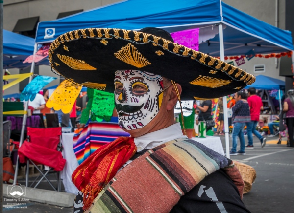 He was dressed in a skeleton outfit. Day of the Dead Celebration El Panteon de Sacramento Sacramento, CA, U.S.A. October 28, 2018