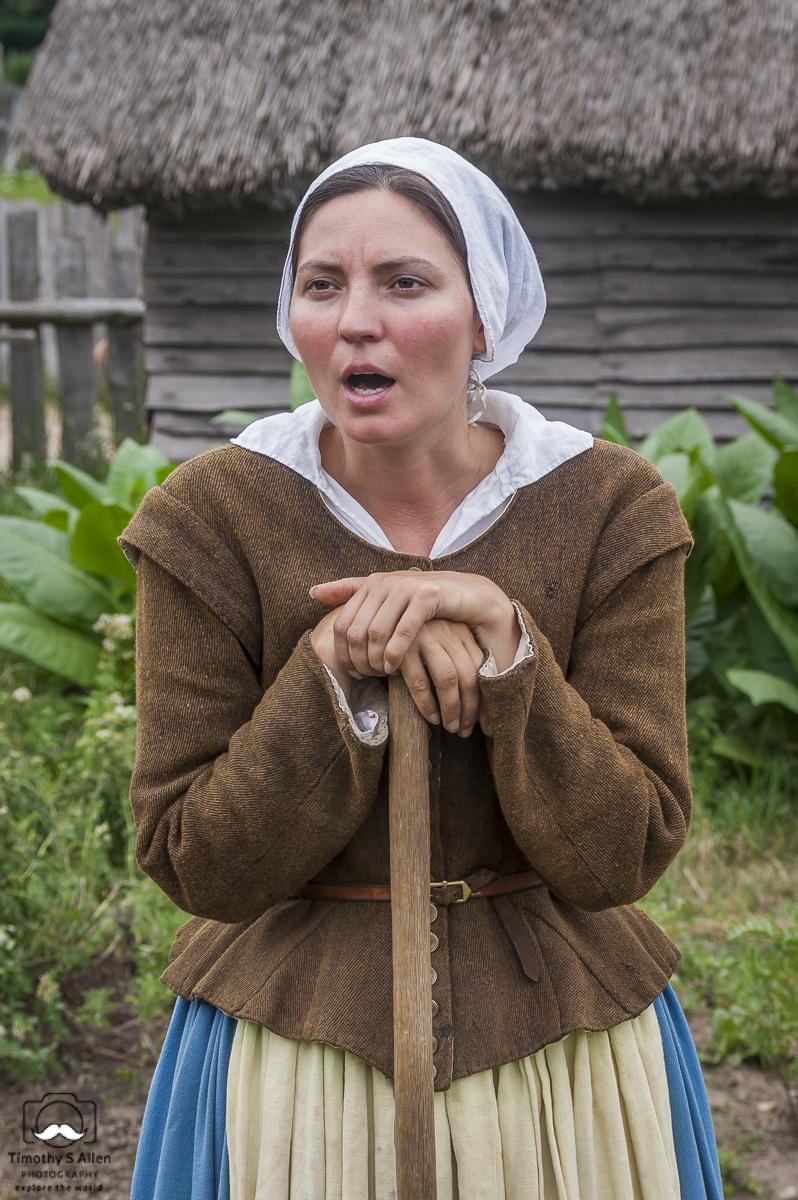 17th Century English Village Resident, Re-enactor of Elizabeth Hopkins, Plimoth Plantation, Plymouth, MA, U.S.A. July 23, 2010