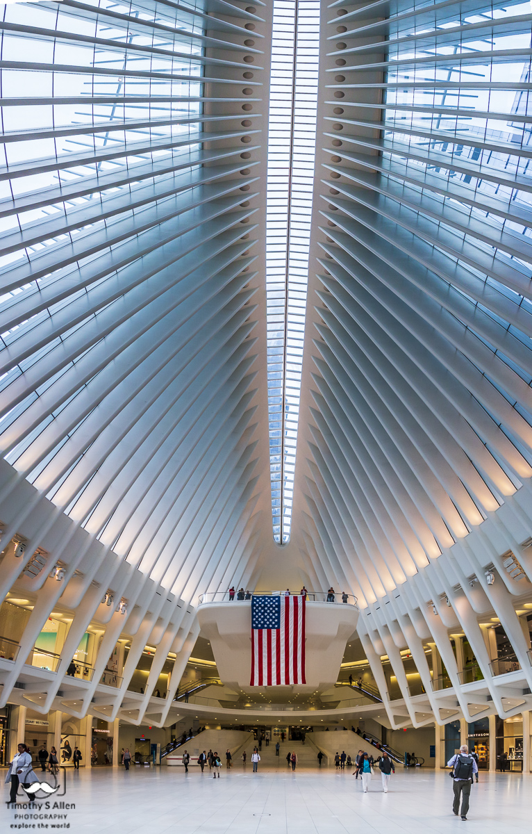 Vertical Panoramic of the World Trade Center - Oculus: The new World Trade Center Transportation Hub New York, NY, U.S.A. September 11, 2018