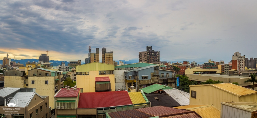 Looking eastward over the buildings the West District Taichung, Taiwan, March 31, 2014