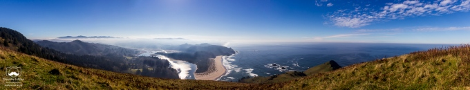 Central Oregon Coast north of Lincoln City. You can see the Salmon River below. Otis, OR, U.S.A. November 1, 2013.